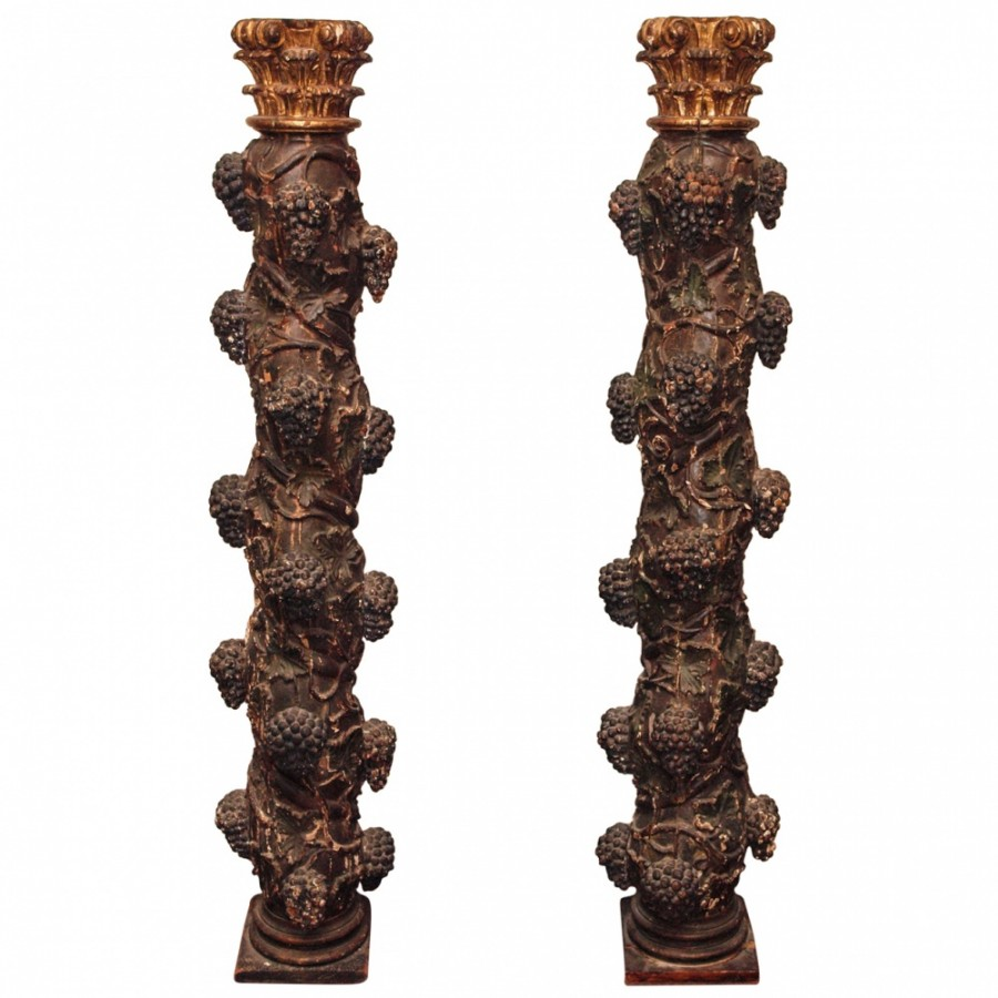 """Pair of 18th c. """"Salome"""" columns polychromed and gilt"""