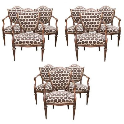 Set of Nine Italian 18th Century Shield Back Dining Armchairs