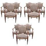 Set of Nine Italian 18th Century Shield Back Dining Armchairs