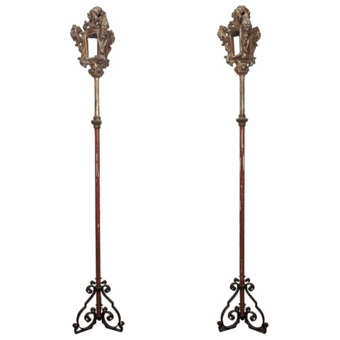 Pair of Italian Processional Pole Lanterns