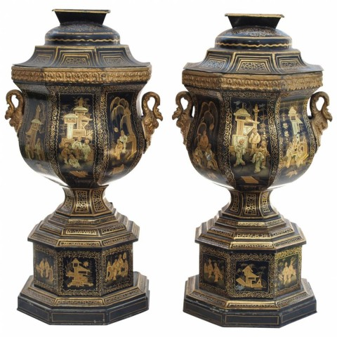 Pair of 19th Century Tole Parfumieres