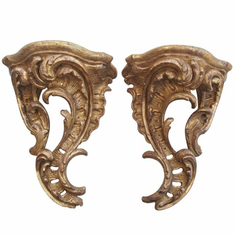 Pair of Louis XV Gilt Wood Wall Brackets