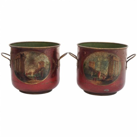 Pair of 19th Century Tole Wine Coolers