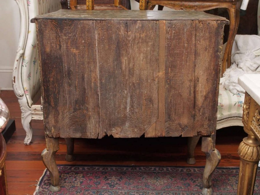 Sicilian Painted Two Drawer Commode in taupe/gray with floral central ...