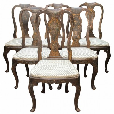 Set of Six 18th Century Hand-Painted Italian Vase Splat-Back Chairs