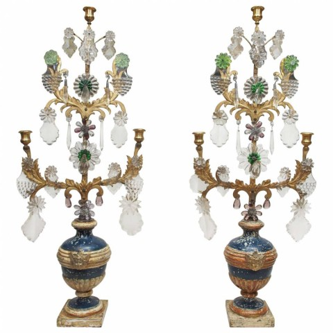 Pair of Italian Louis XVI Painted and Parcel Gilt with Gilt Iron Girandole