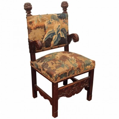 French Oak Chair with Tapestry Fragment Upholstery