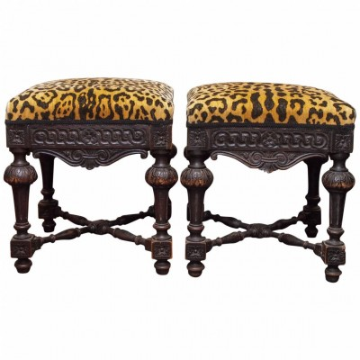 Pair of 19th Century Italian Dark Walnut Stools