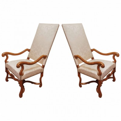 Pair of Early 18th Century Tall Back Armchairs of Fruitwood
