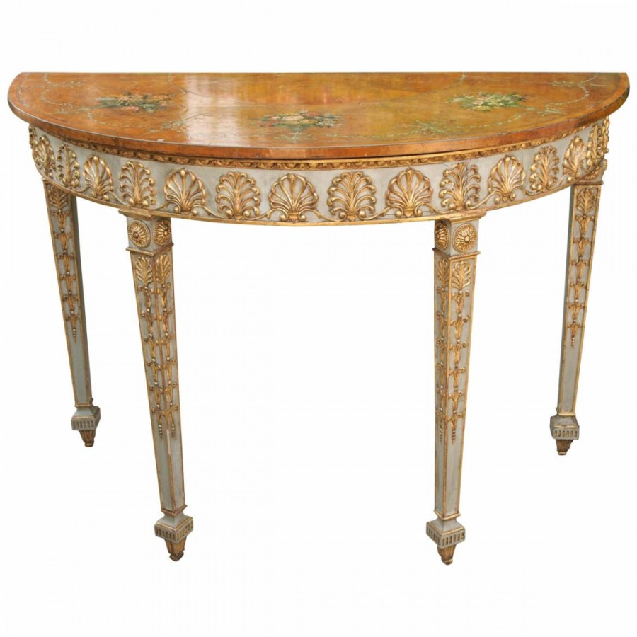 english demi lune table with painted decoration kevin stone antiques interiors. Black Bedroom Furniture Sets. Home Design Ideas