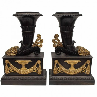 Classical Cornucopia Form Vases with Patinated and Gilt Bronze