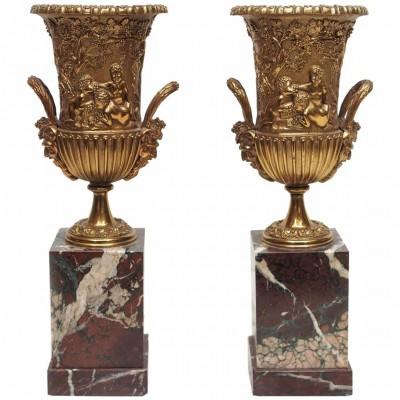 Pair of Classical Gilt Bronze Handled Urns on Plinths