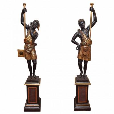 Pair of Venetian Polychromed Blackamoor Figures