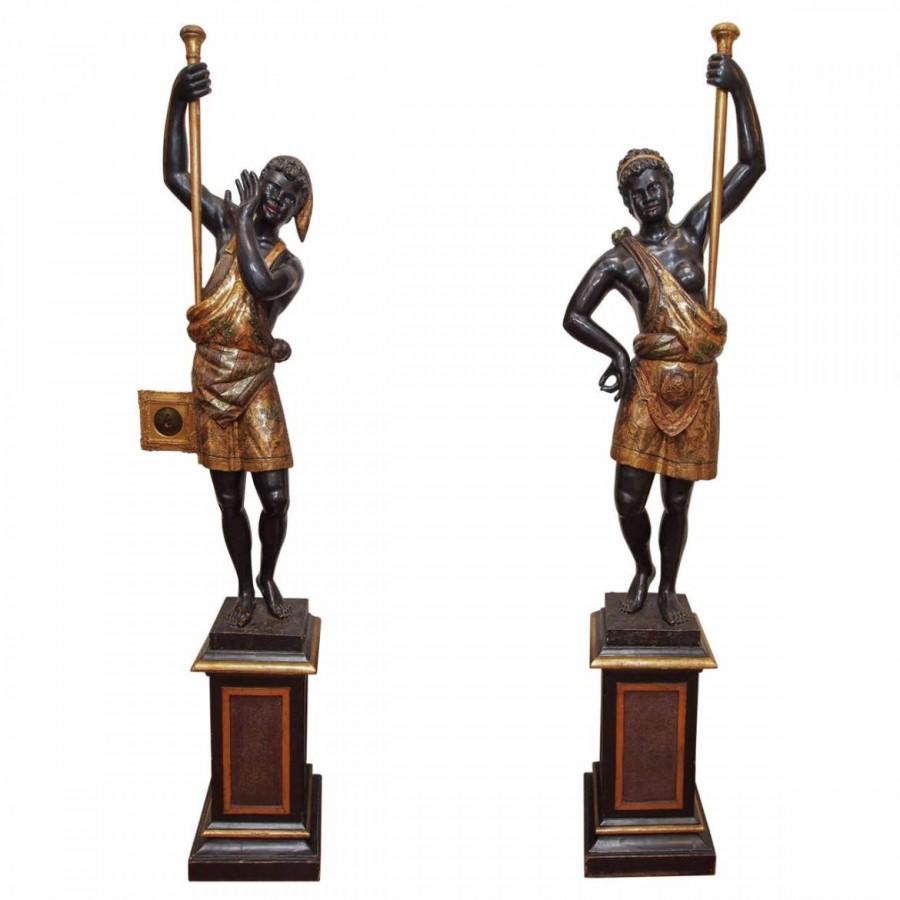 Pair Of Venetian Polychromed Blackamoor Figures Kevin