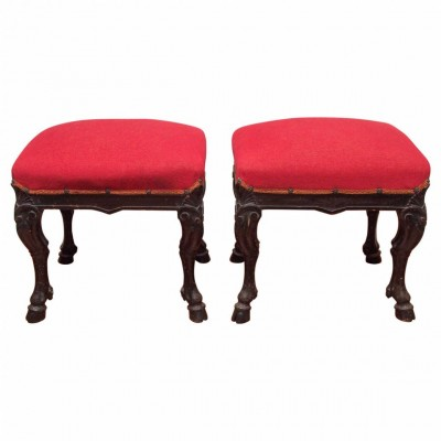 Pair of Italian Walnut Hoof Footstools
