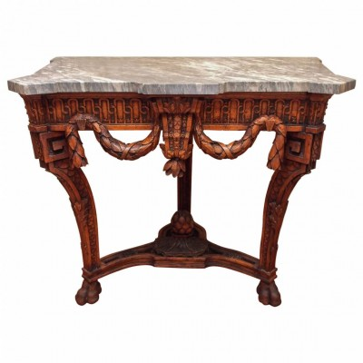 French Louis XVI Walnut Console with Gray Marble Top
