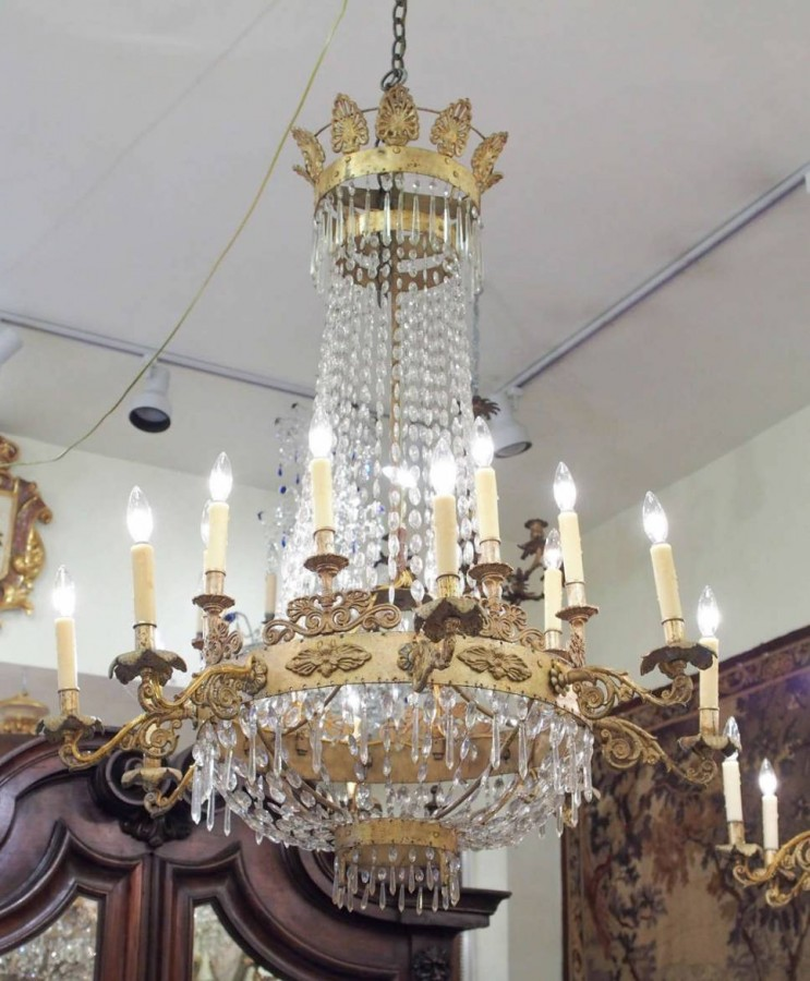 Pair of italian empire gilt iron and crystal chandelier kevin stone pair of italian empire gilt iron and crystal chandelier mozeypictures Images
