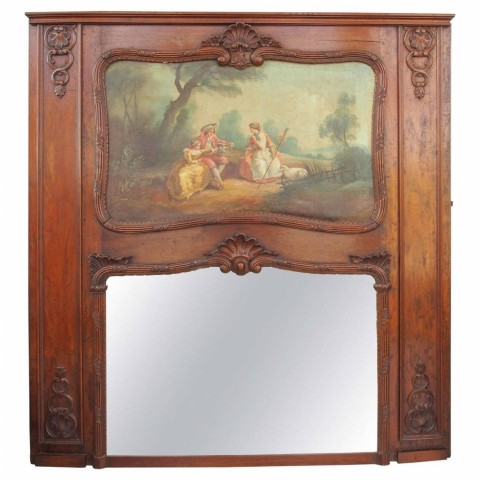 French Regence, Walnut Trumeau Mirror