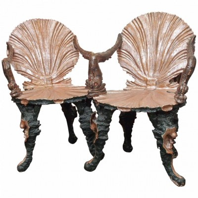 "Pair of Venetian Silver Gilt ""Fantasy"" Grotto Armchairs"