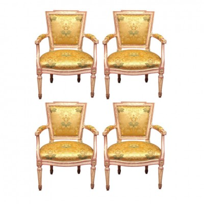 Set of Four Italian Louis XVI Painted Armchairs