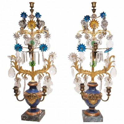 Italian Parcel Gilt and Gilt Iron and Crystal Girandoles