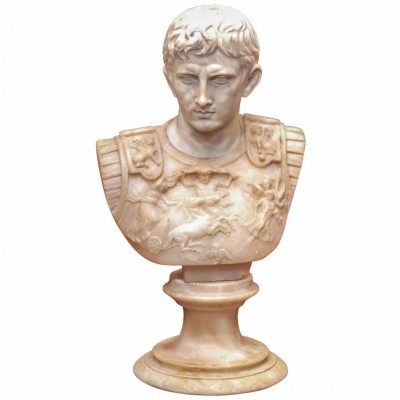 19th c. Grand Tour Alabaster Bust of Caesar