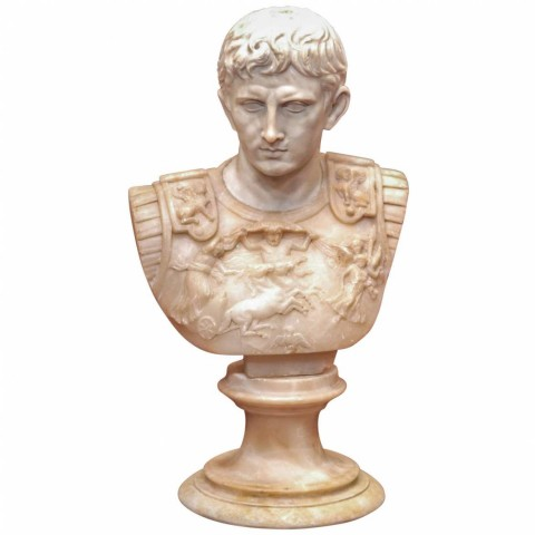 19th c. Grand Tour Alabaster Bust of Caesar
