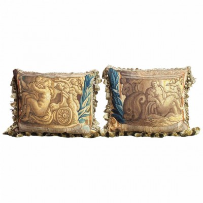 Pair of 17th Century Tapestry Fragments as Pillows