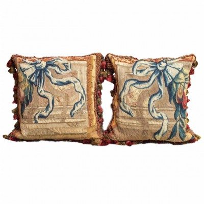 Pair of 17th Century, Aubusson Tapestry Fragments Now as Pillows