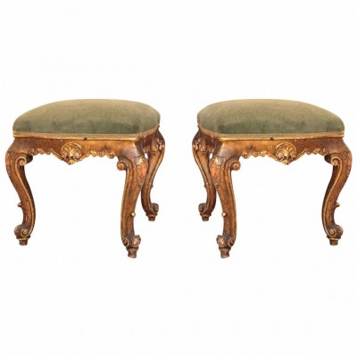 Pair of Early 19th Century Louis XV Style Gilt Tabouret