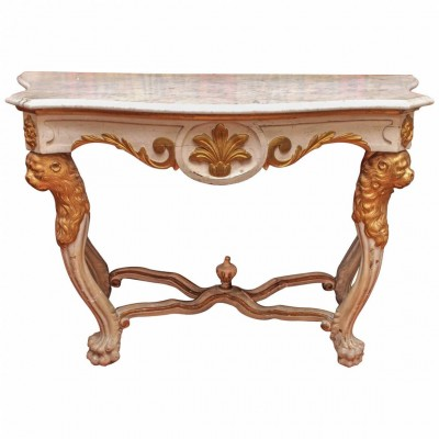19th Century Continental Painted and Parcel Gilt Console Table