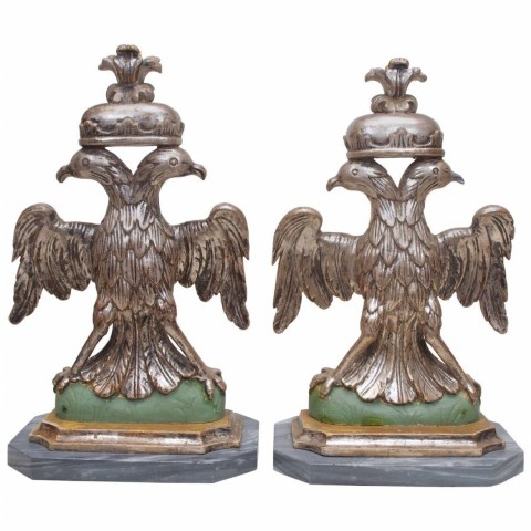 Pair of 19th Century Double Headed Eagles on Marble Bases