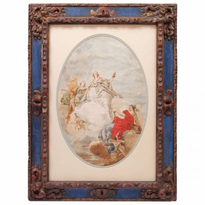 18th Century Italian School Watercolor in 19th Century Frame
