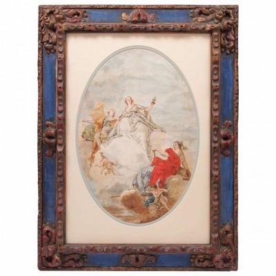 18th Century Italian School Watercolor in 19th Century Frame