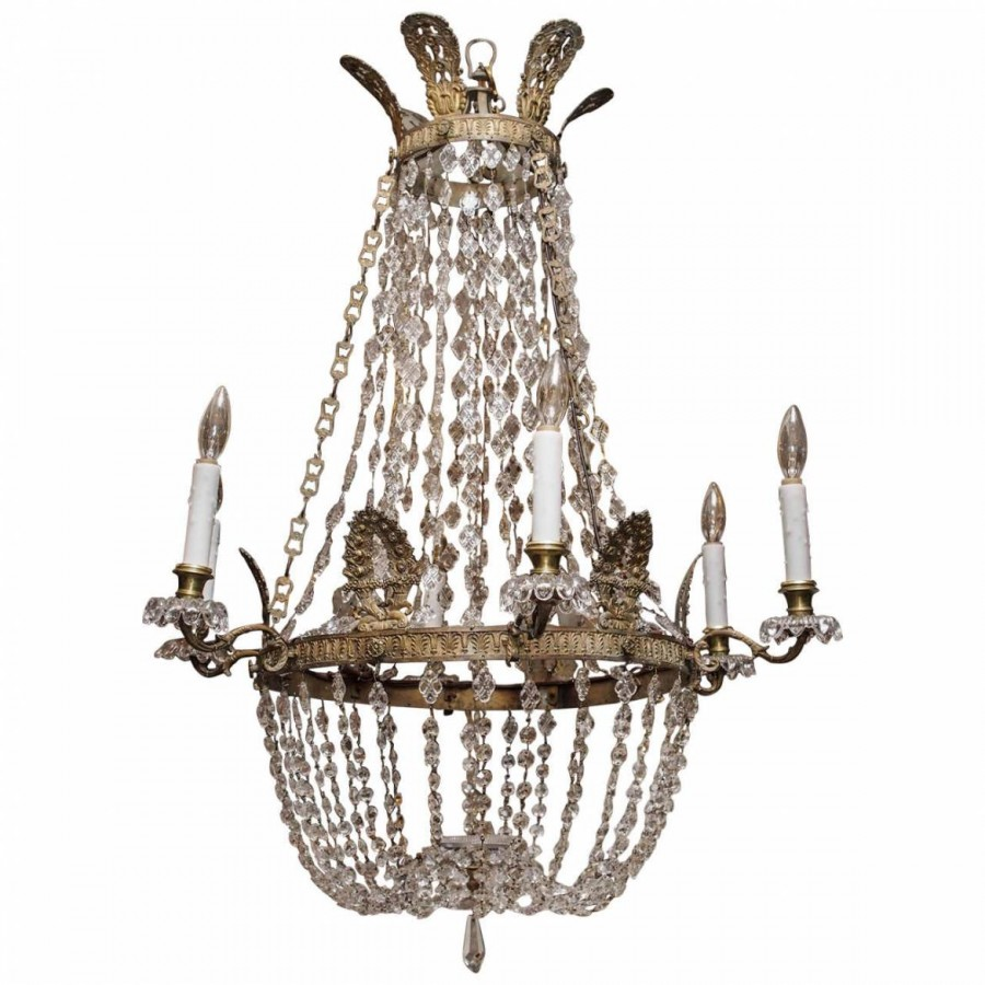 19th Century French Empire Bronze And Crystal Basket Chandelier