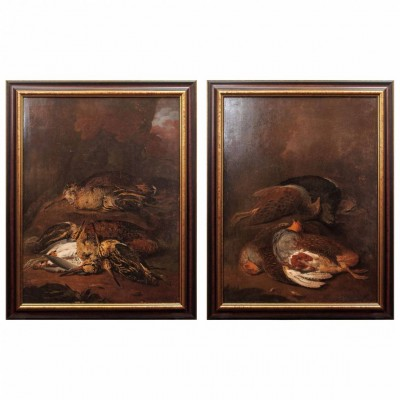 Pair of Engish Nature Morte Oil on Board