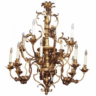 Italian Gilt Iron and Wood Chandelier with Twelve Lights