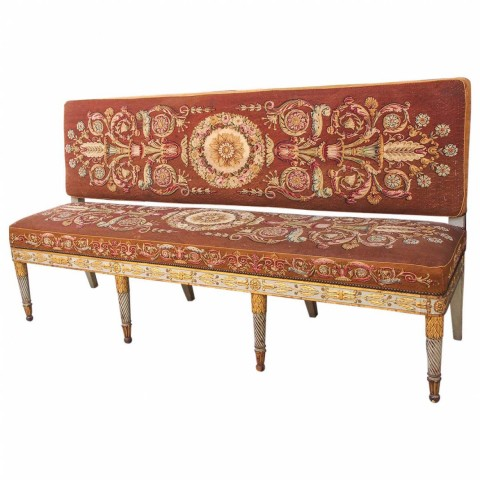 Exceptional French Empire Aubusson Covered Hall Bench