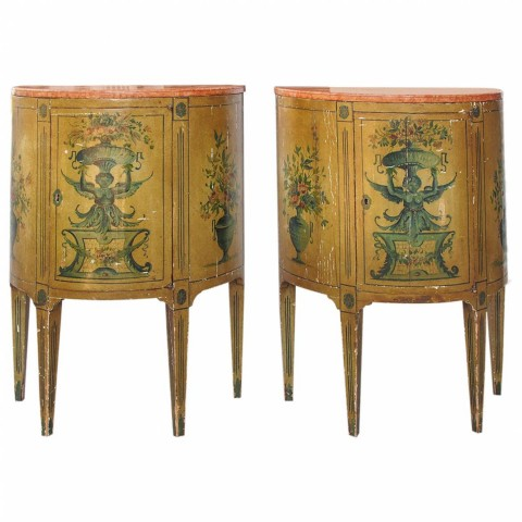 Pair of Italian Painted Demilune Cabinets with Marble Tops