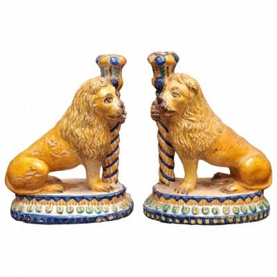 Pair of Italian Faience Lion Form Candlesticks
