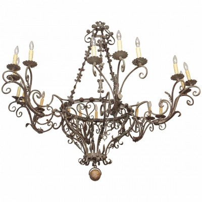 Exceptional Tuscan Hand-Wrought Iron Chandelier with Eighteen lights