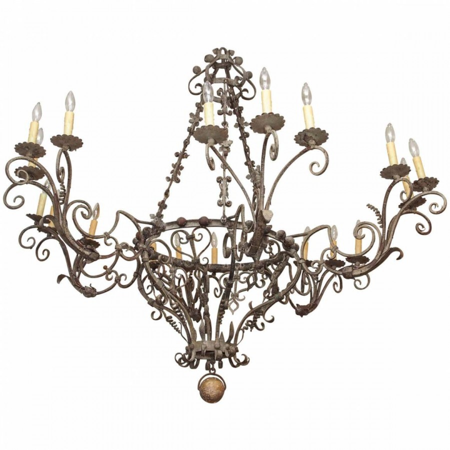 Exceptional tuscan hand wrought iron chandelier with eighteen exceptional tuscan hand wrought iron chandelier with eighteen lights arubaitofo Images