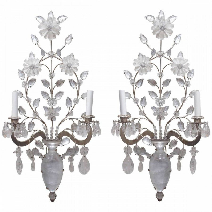 Pair of French Bagues Wall Sconces of Rock Crystal