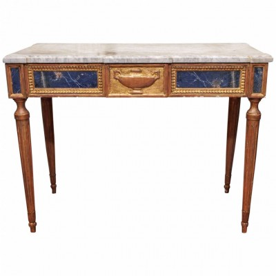 Italian Louis XVI Console Table with Lapis Lazuli Panels