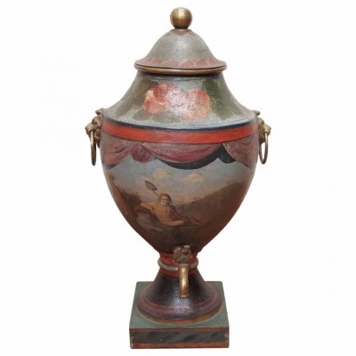 18th Century Painted Tole Hot Water Urn