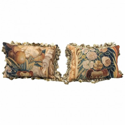 Pair of 17th Century Aubusson Tapestry Fragments Now as Cushions