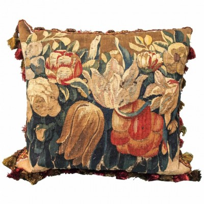 7th Century Aubusson Tapestry Fragment Depicting Tulips Now as Cushion
