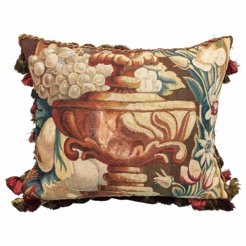 French Aubusson Tapestry Fragment Depicting a Garden Urn Now as a Cushion