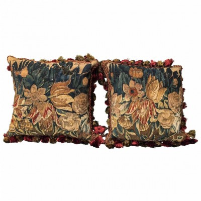 Pair of 17th Century Tapestry Fragments Depicting Tulips Now as Cushions