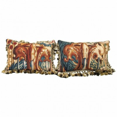 Pair of 17th Century Aubusson Tapestry Fragments Depicting Dolphin Fountains